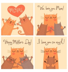 Sweet cards for mothers day with cats vector