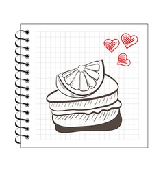Doodle orange cake slice on notebook paper vector
