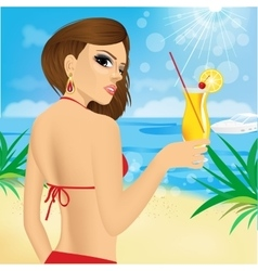 Young women with coctails on the beach vector