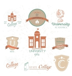 University emblems and symbols - isolated on white vector