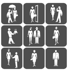 People icon set standing woman man waiter vector