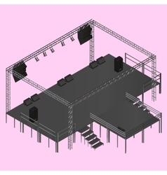 Isometric event stage truss vector