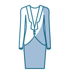 Blue silhouette shading of female formal suit vector