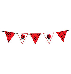 bunting with ladybug and polka dot pattern vector image vector image