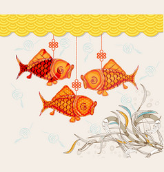 chinese carp lantern festival doodle graphic vector image