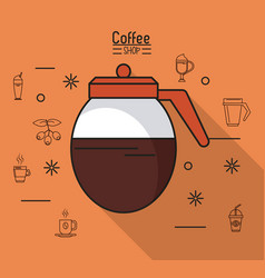 colorful poster of coffee shop with coffee jar vector image