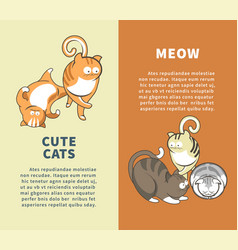 Cute cats that say meow promotional vertical vector