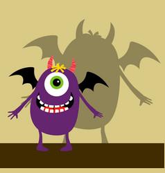 Cyclops violet happy monster vector