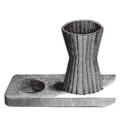 Cylindrical basket is slightly contracted in the vector
