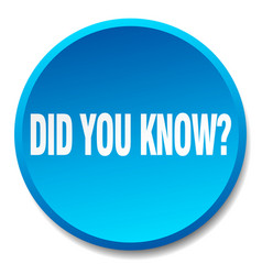 Did you know blue round flat isolated push button vector
