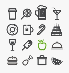 Different drinks and food icons set vector