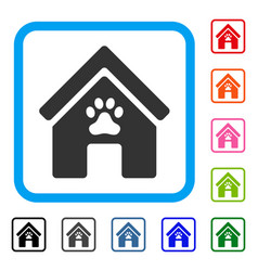 Doghouse framed icon vector