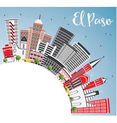 El paso usa skyline with gray buildings blue sky vector