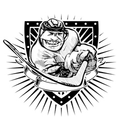 fun ice hockey shieldp vector image vector image