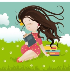 Girl sitting on grass reading a book vector
