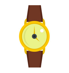 Gold wristwatch icon isolated vector