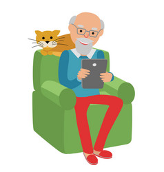 happy senior man sitting on the sofa read vector image