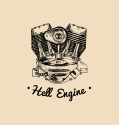 hell engine vintage motorcycle logo biker vector image vector image