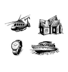 Icon set for elite site helicopter yacht real vector