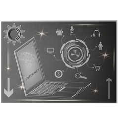 Laptop and gear vector