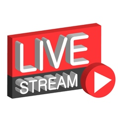 Live stream 3D button vector image