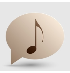 Music note sign brown gradient icon on bubble vector