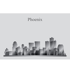 Phoenix city skyline silhouette in grayscale vector image vector image
