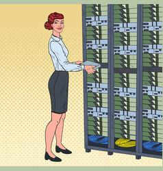 Pop art network female enginee in data center vector