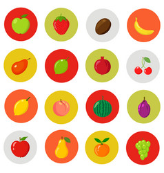 set of flat icons fresh natural fruits cartoon vector image vector image