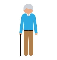 Silhouette elder with walking stick without face vector