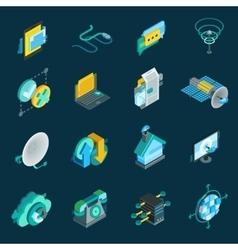 Telecommunication isometric icons set vector