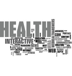 Web health answers text word cloud concept vector