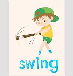 wordcard with boy swing the bat vector image