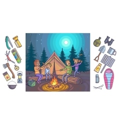 Camping infographic set with backgrounds and vector