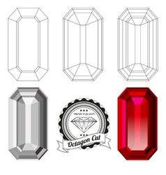 Set of octagon cut jewel views vector