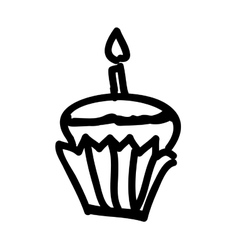 Cupcake with candle icon image vector