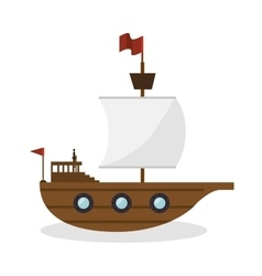 Sail boat toy isolated icon vector
