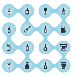 Set of simple beverage icons vector