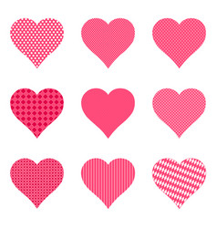 Set of bright hearts with pattern vector