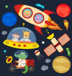 Set of animals in space part 3 vector