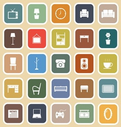 Living room flat icons on light background vector