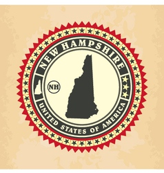 Vintage label-sticker cards of new hampshire vector
