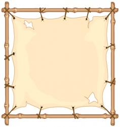 Old cloth on bamboo frame vector