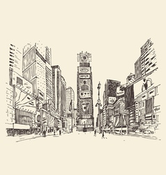 Times Square street in New York city engraving vector image