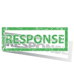 Green outlined response stamp vector