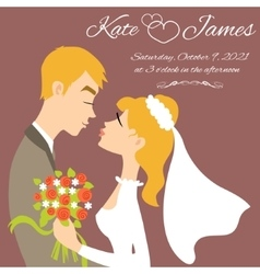Wedding couple for invitation card image vector