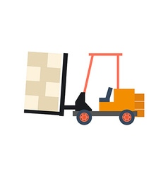 Transport flat forklift icon isolated on white vector