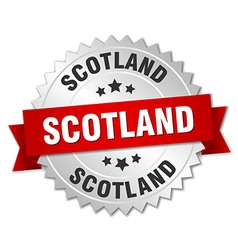 Scotland round silver badge with red ribbon vector