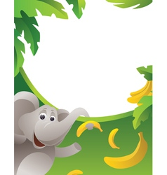 Frame with elephant vector