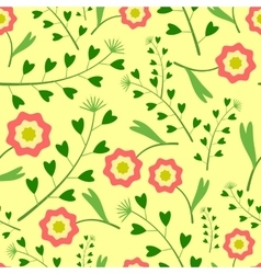 Yellow pattern with flowers and grass vector